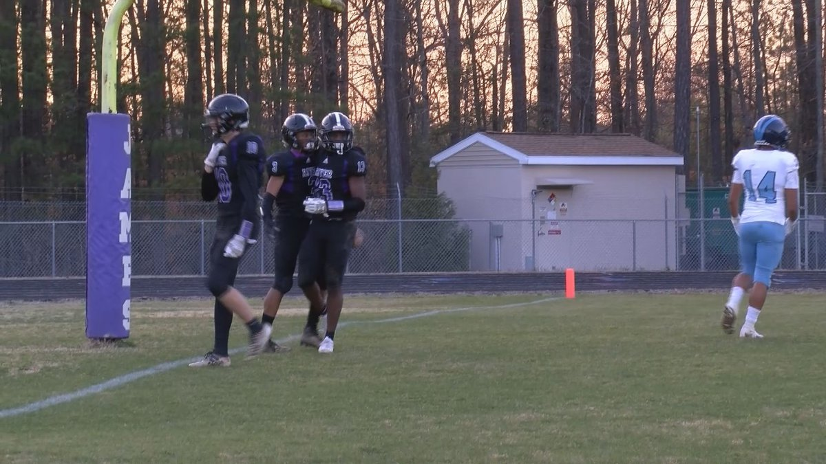 James River players celebrate Chris Seward's touchdown catch in the second quarter of the...
