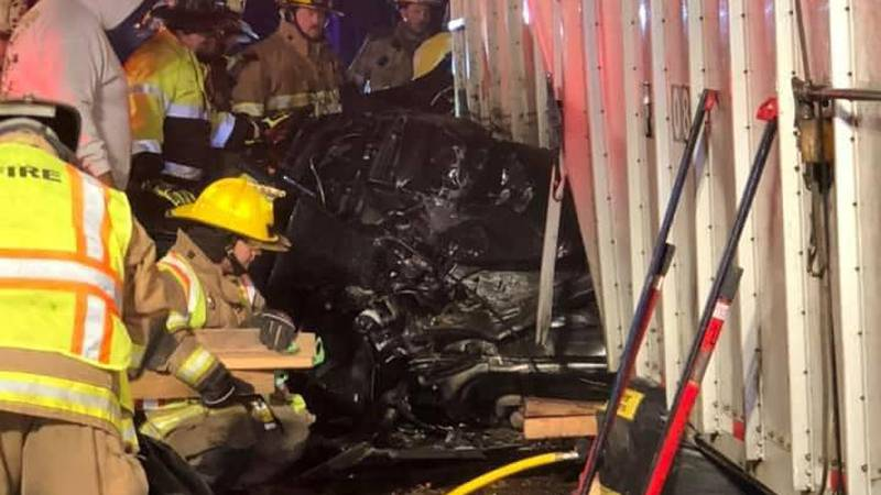 Crews work to free person trapped in car after crash in Brunswick County.