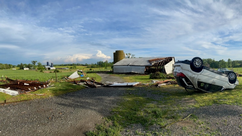 Tuesday's severe thunderstorms left significant damage to a farm near Fredericks Hall Road in...