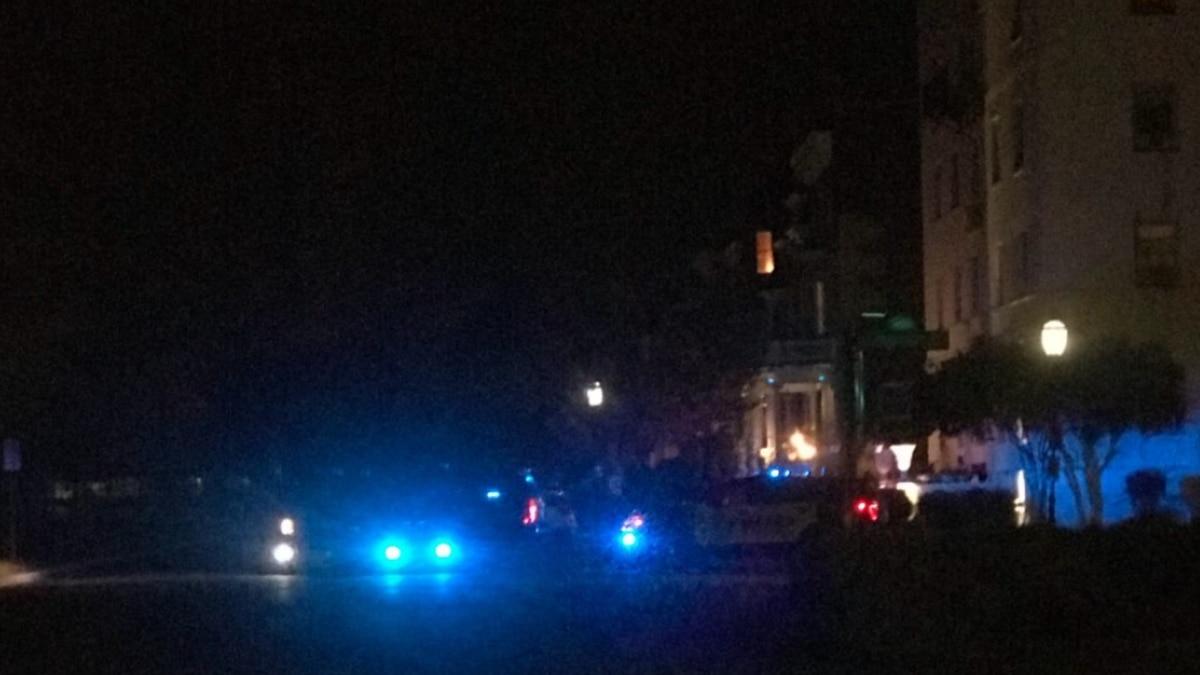 Police blocked Monument Avenue near the Robert E. Lee monument on Sunday evening.