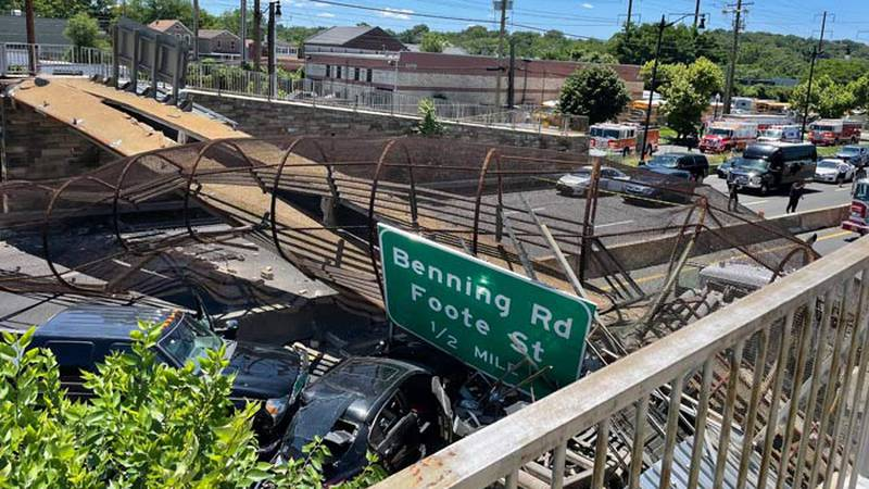 The collapse of a pedestrian bridge Wednesday onto I-295 in Washington, D.C. sent at least four...