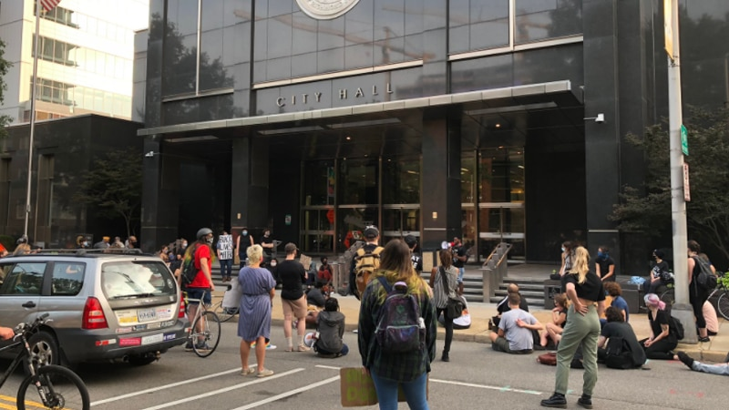 Protesters once again gathered in downtown Richmond on Monday.