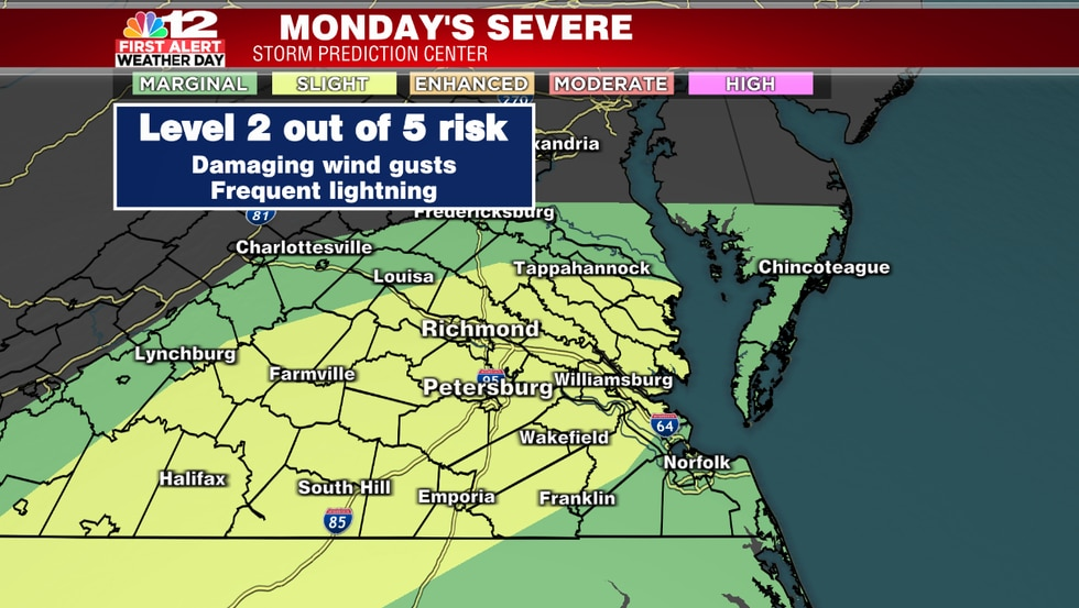 Central Virginia has been upgraded to a level 2 out of 5 (slight) risk for severe weather on...