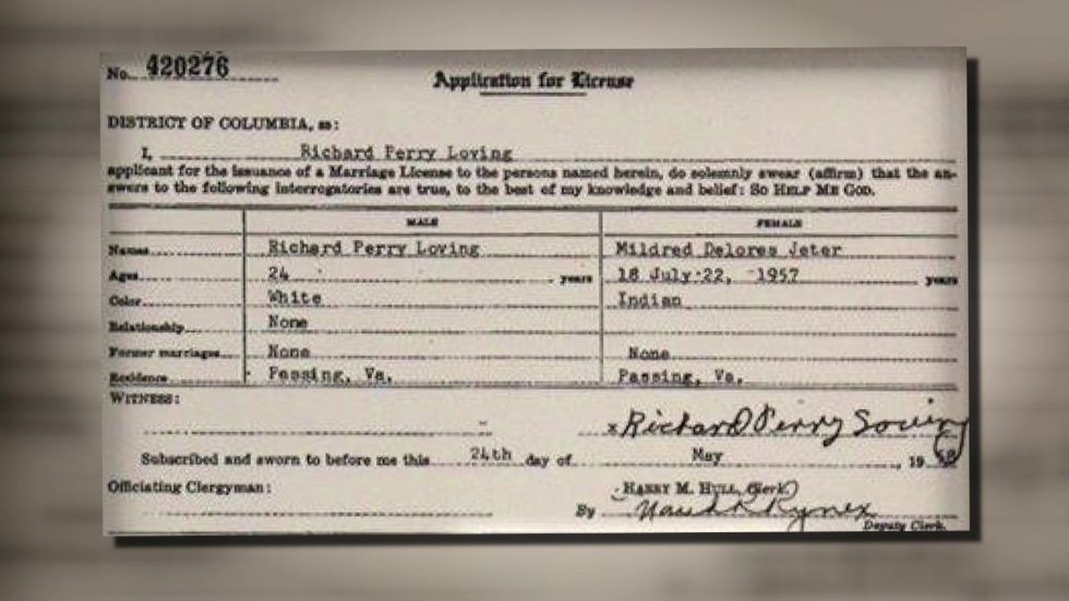 Loving marriage license (Source: Smithsonian)