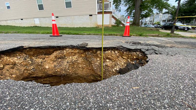 Sinkhole forming in Church Hill street.