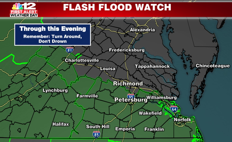 Flash Flood Watch until Midnight for areas along and south of I-64