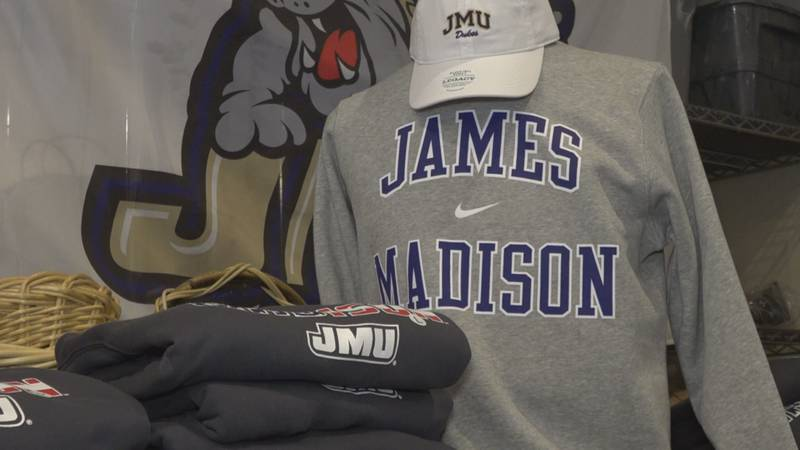 JMU merchandise found at the University Outpost Bookstore.