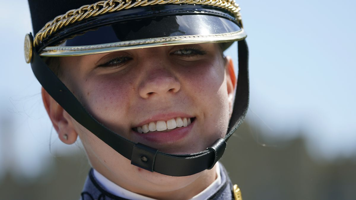 Virginia Military Institute new Corps of Cadet Commander Kasey Meredith, of Johnstown, Pa.,...