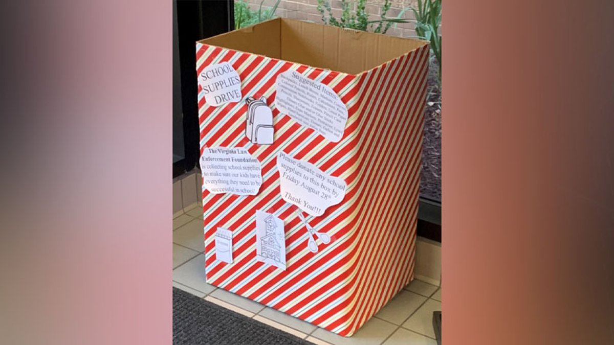 A collection box is in the lobby of the sheriff's office located at 4317 East Parham Road.