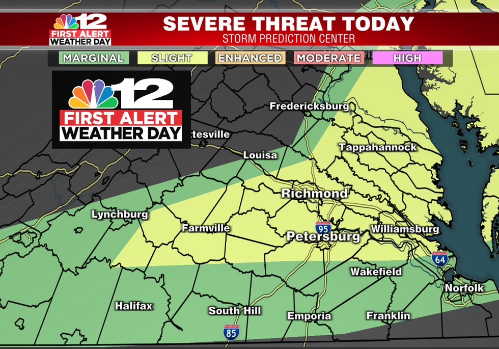 Storm Prediction Center shows the highest risk is north and east of Farmville