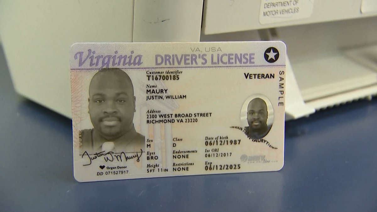 A sample of the Virginia Real ID.