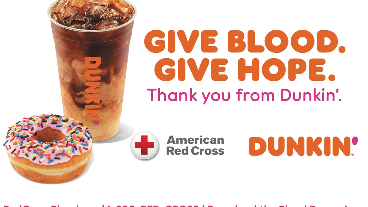 Dunkin' and American Red Cross offer vouchers to blood donors in August.