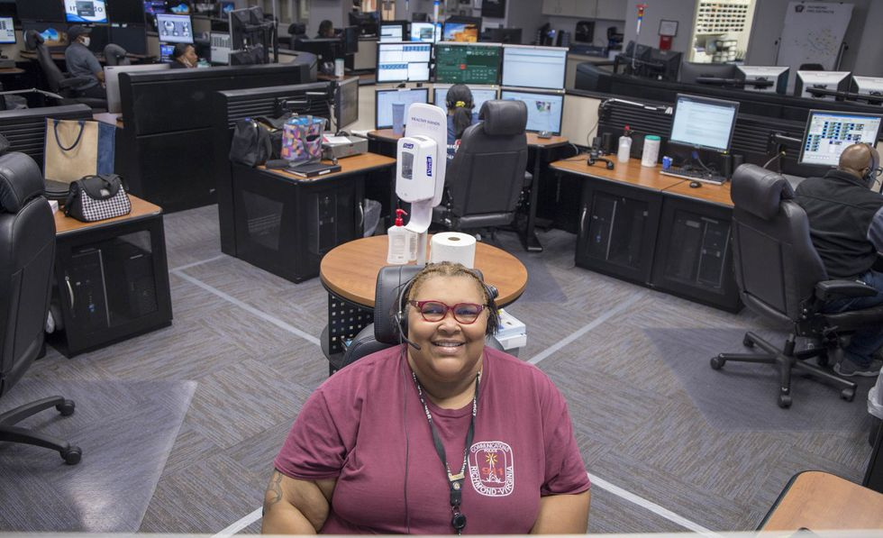 Tasharnda Gainey in the Emergency Communications Center.