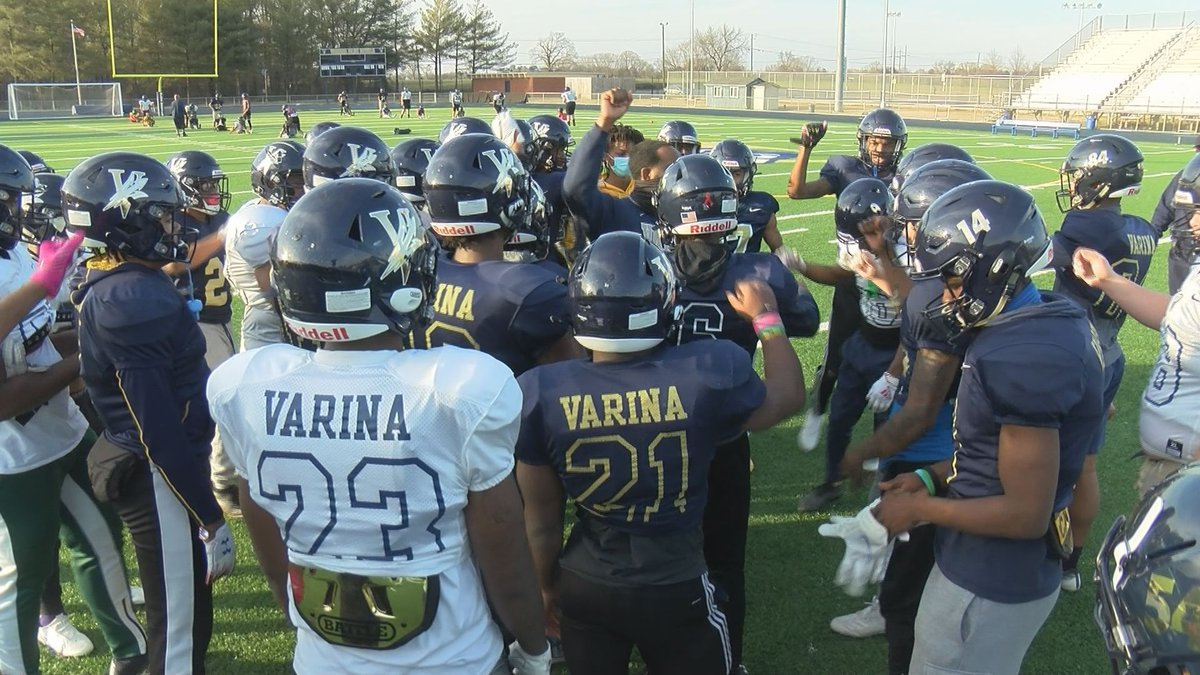 Varina's football team gets set to hit the field for a practice on March 9, 2021.
