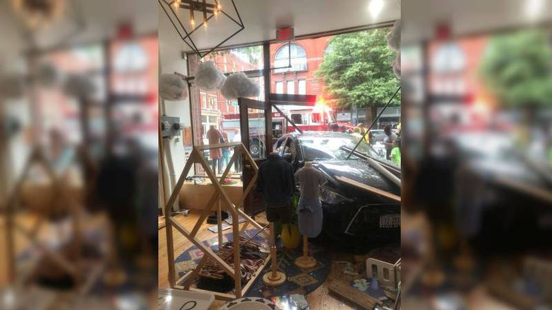 A car plowed through Little Nomad on Saturday. (Source: Nora Land Bryant)