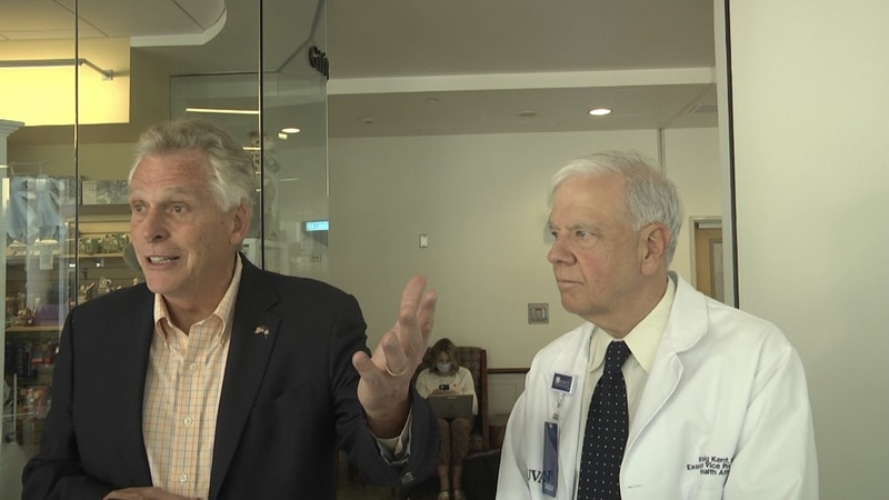 Gubenatorial candidate Terry McAuliffe and Dr. K. Craig Kent, UVA Vice President for Health...