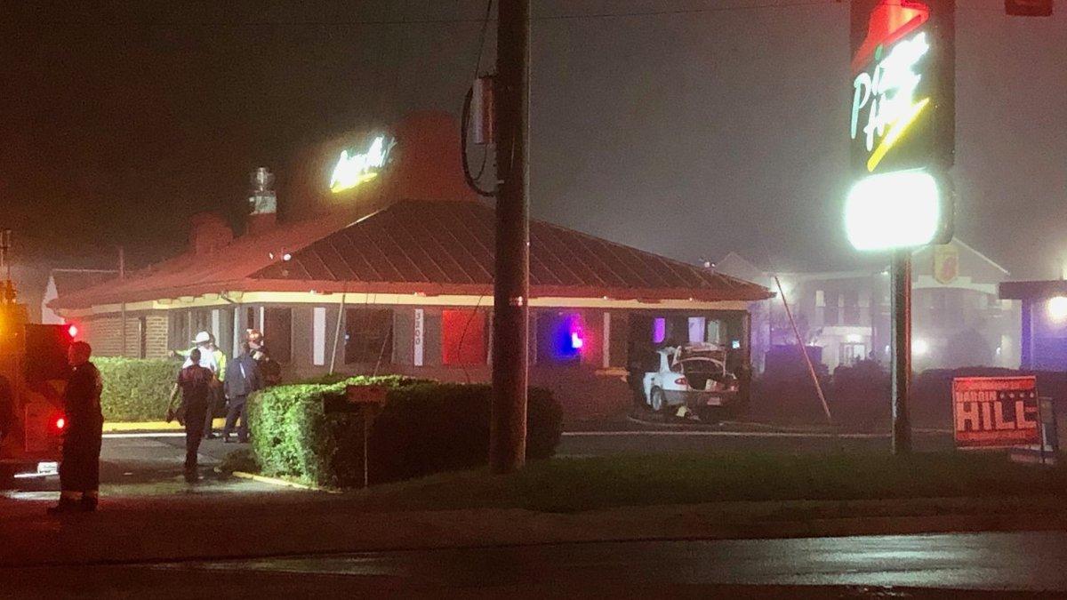 Car crashed into Petersburg Pizza Hut.