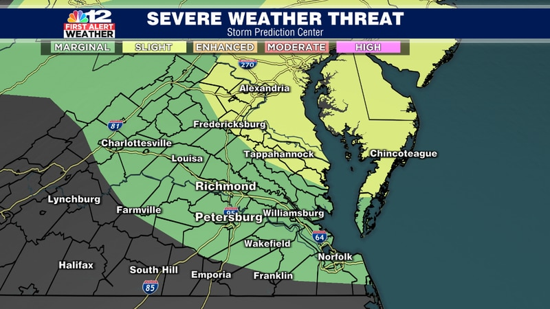 There is a slight risk for severe thunderstorms across the Northern Neck of Virginia for a risk...