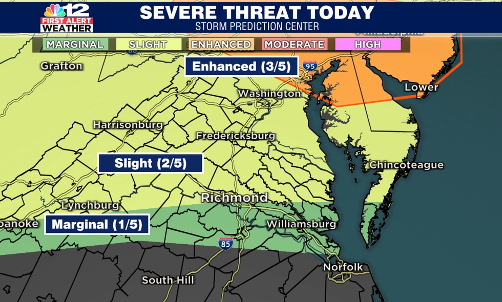 Strong storms possible especially in northern virginia