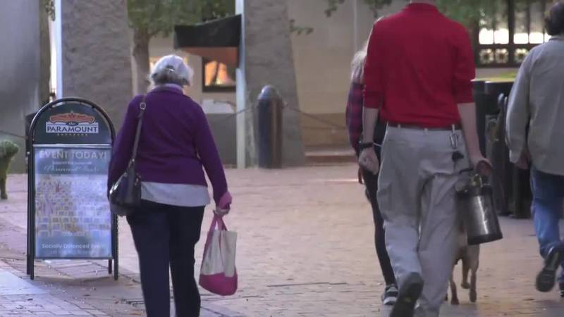 Folks walking on Charlottesville's Downtown Mall
