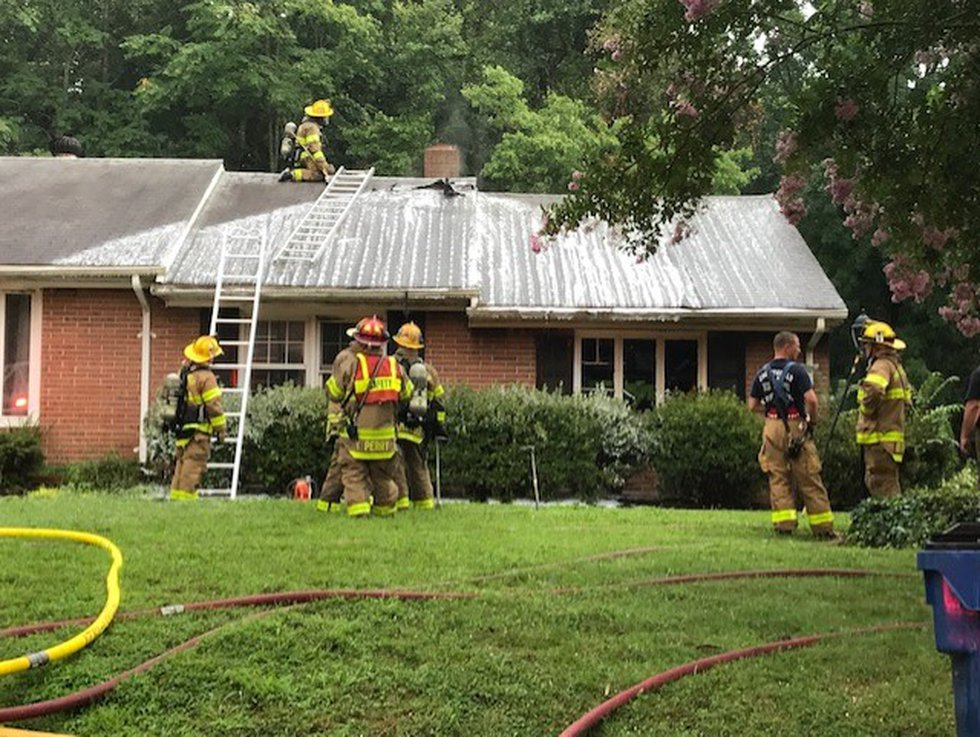 A house in Chesterfield was struck by lightning, fire officials said.