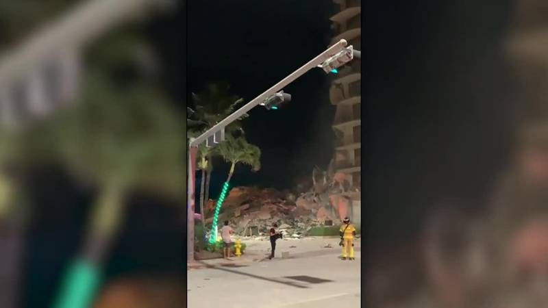 Damage and debris from a building collapse near Miami.