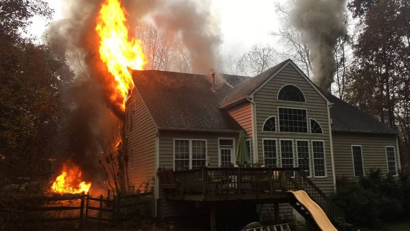 Firefighters respond to a house fire on Fox Branch Road in Chesterfield.