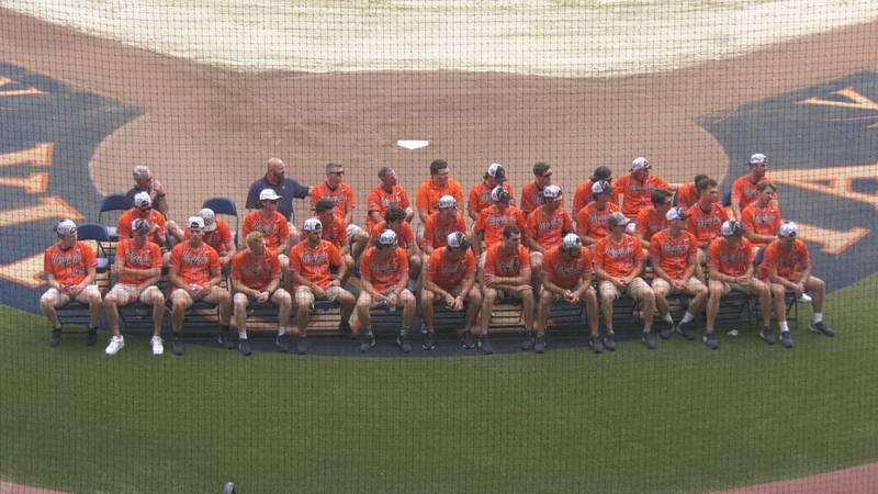UVA Baseball celebrating its trip to Omaha