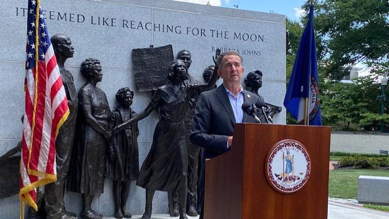 Gov. Ralph Northam speaks ahead of a ceremonious bill signing on Monday.