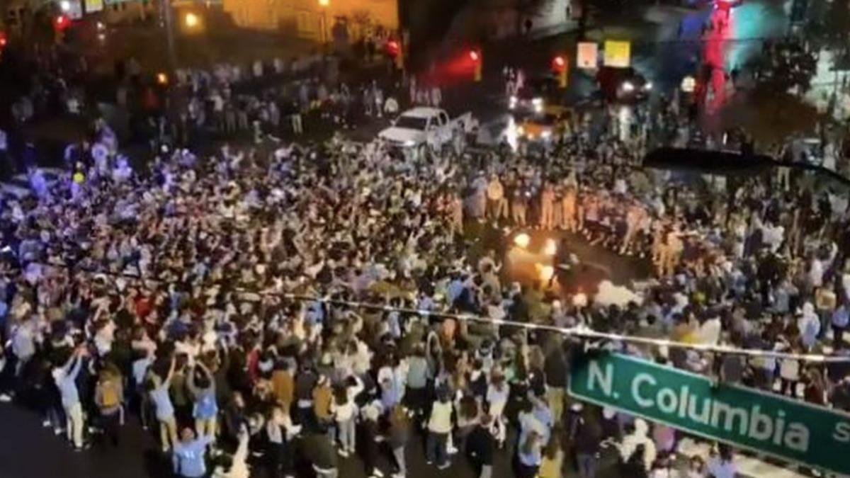 North Carolina fans party in Chapel Hill, North Carolina.