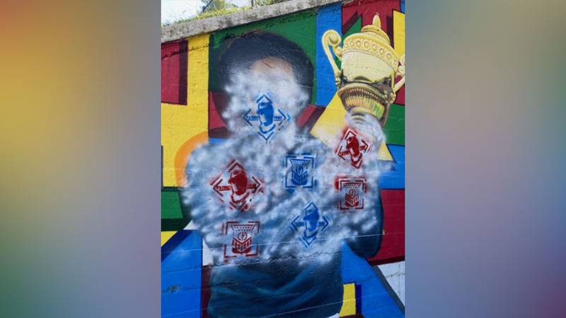 Richmond Police say the Arthur Ashe Mural in Richmond has been spray-painted.