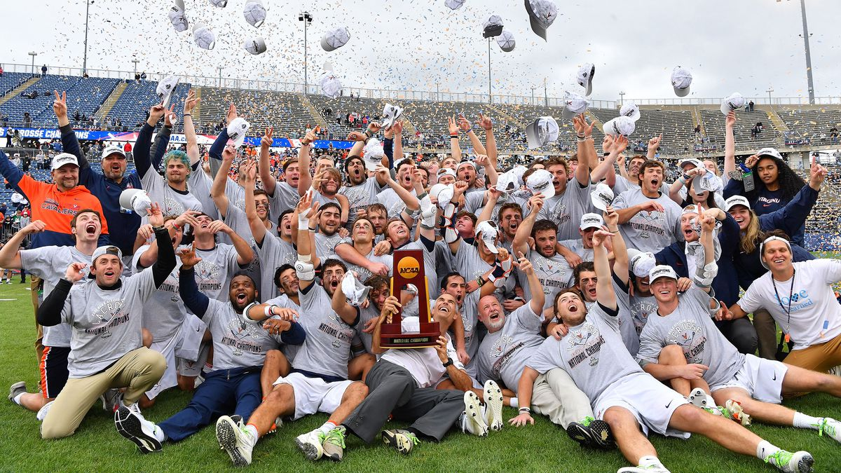 EAST HARTFORD, CT - MAY 31: Virginia Cavaliers players celebrate their win over the Maryland...
