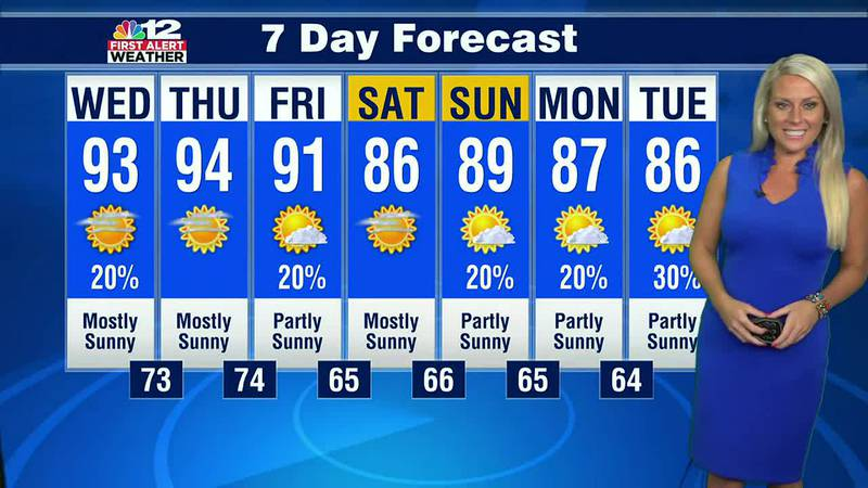 Forecast:  Hot and humid rest of the week