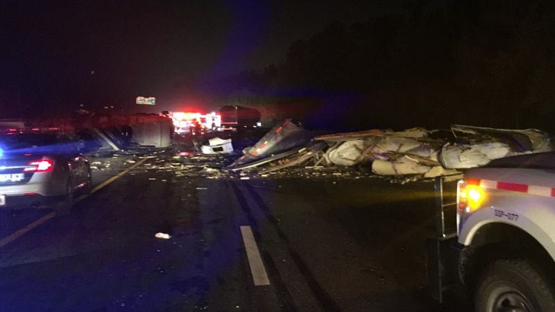 A two tractor-trailer crash near milemarker 10 on I-295 in Hopewell.