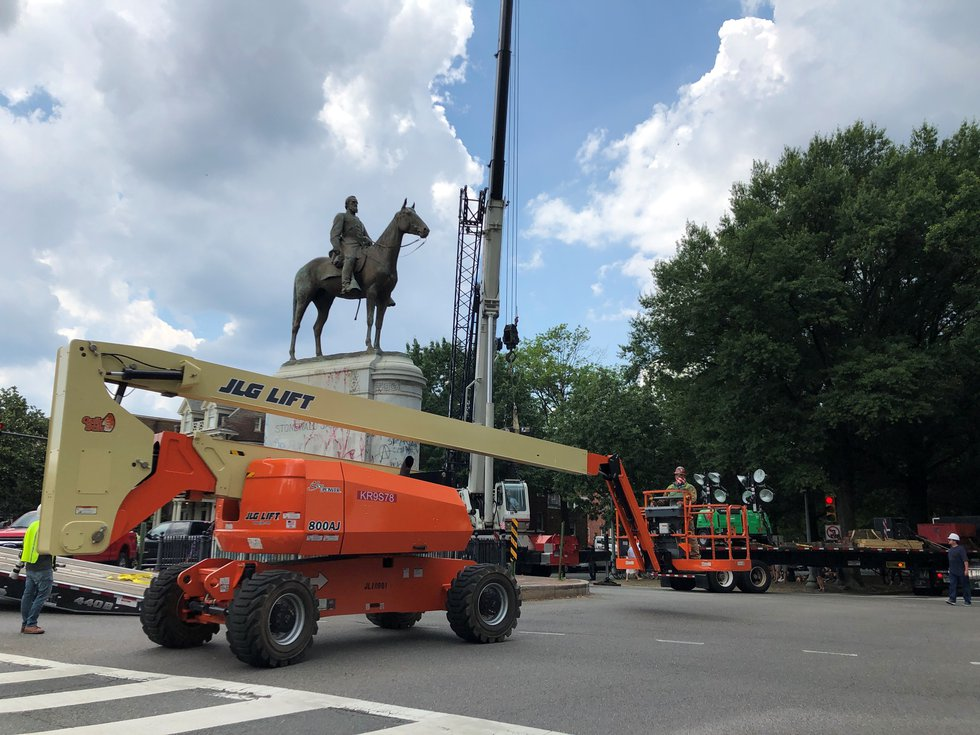 The Stonewall Jackson statue on Richmond's Monument Avenue is being taken down Wednesday, July...