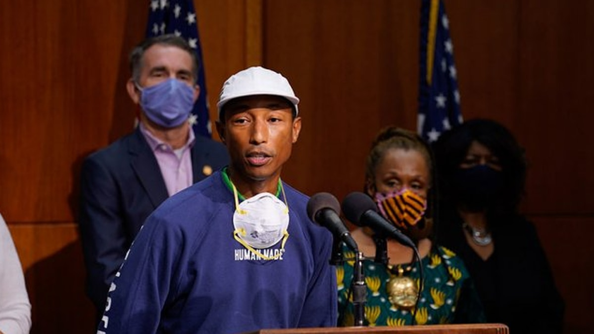 Pharrell Williams speaking during a June press conference announcing Gov. Ralph Northam's plans...