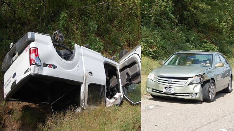 Virginia State Police said a truck overturned in a two-vehicle crash on southbound Interstate...
