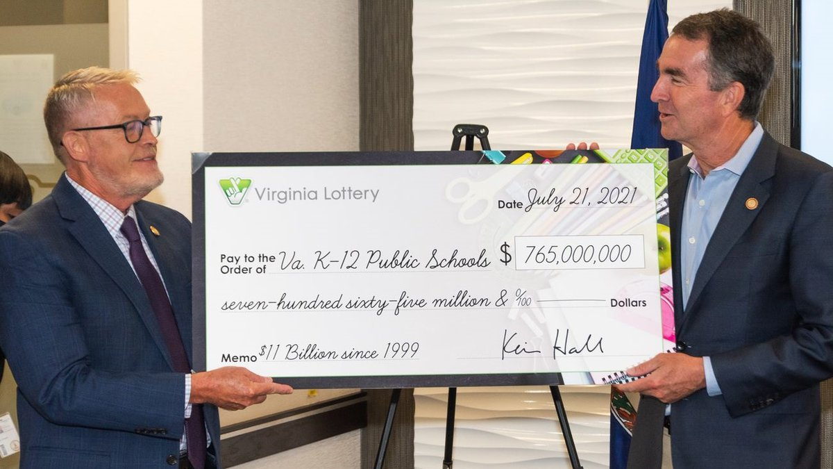 Governor Northam accepted a ceremonial check for $765 million in lottery profits to be used in...