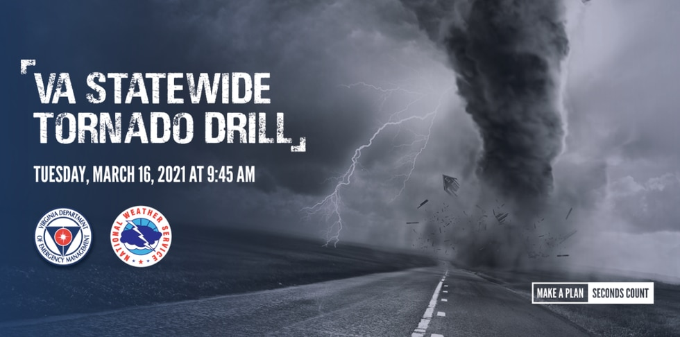 Virginia's annual tornado drill is Tuesday morning March 16th
