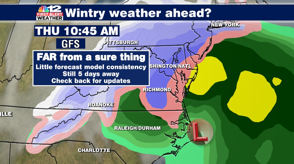The latest forecast model runs show a rain to snow scenario for Thursday, but this is not set...