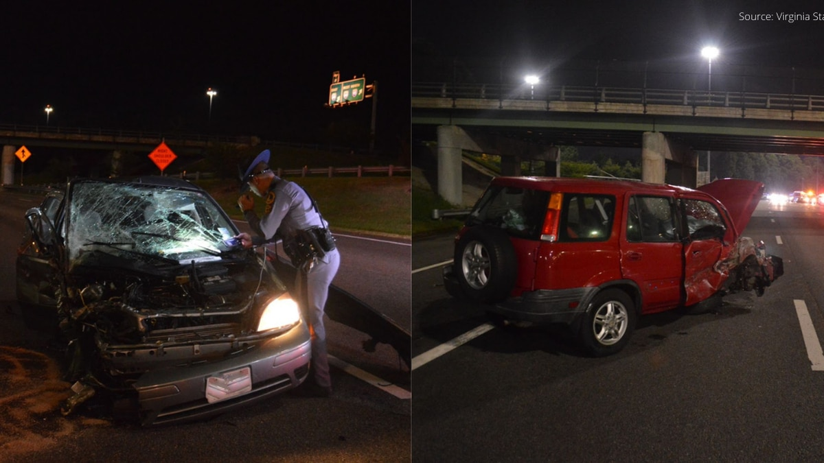 Virginia State Police released photos from the crash scene on Interstate 95. Both vehicles...