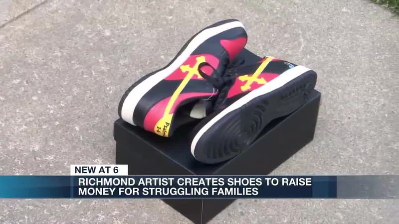 Richmond artist creates shoes to raise money for families struggling due to pandemic