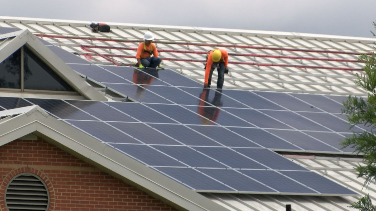 Solar panels are installed at Linwood Holton Elementary School on June 19.