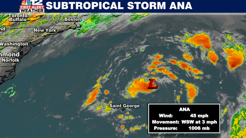 Ana is making a slow turn to the west.