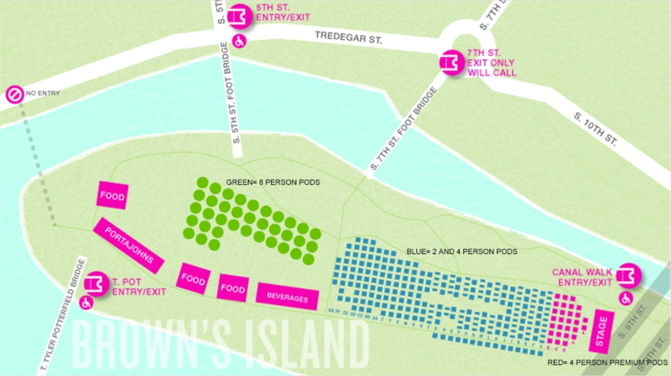 Pod map for Venture Richmond's Friday Cheers concert series