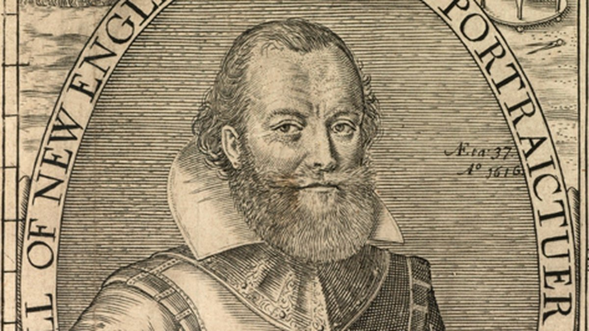 Detail of John Smith from the map of New England from John Smith's Generall Historie of Virginia.