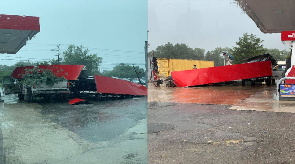 The incident happened as storms moved through on Monday.