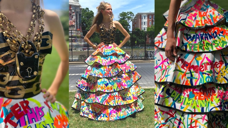 Giles Ferrell's Duck Tape dress was inspired by the statue honoring Confederate Gen. Robert E....