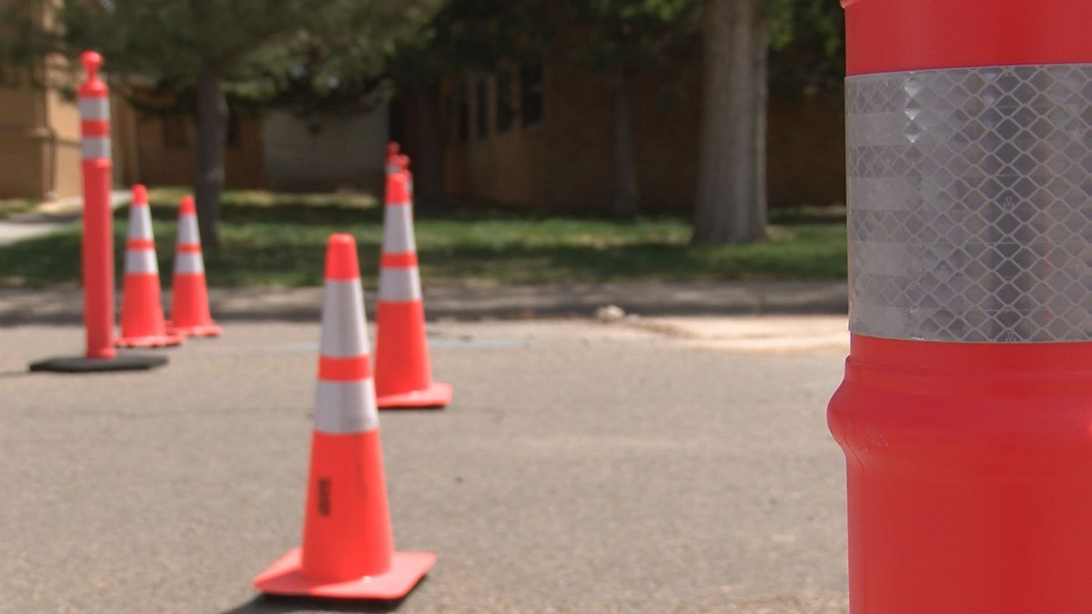 Construction cones block off access to the construction zone for the new facility; Source: KFDA