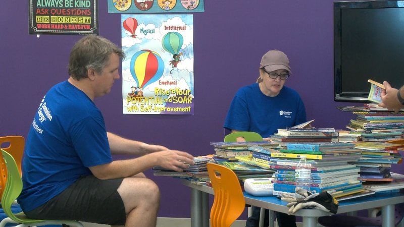 Volunteers from Dominion Energy spent the day putting the finishing touches on the new space...